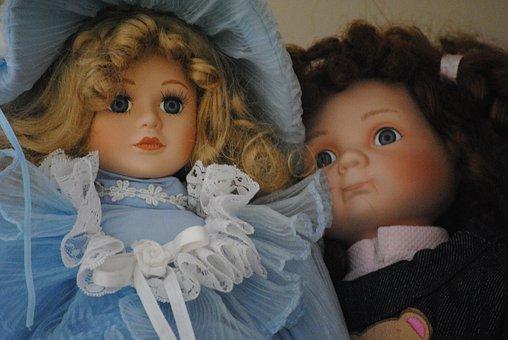 Porcelain, Dolls, Toy, Vintage, Girl, Dress, Antique