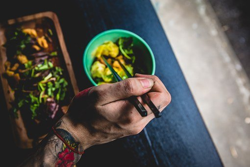 Food, Eat, Bowl, Lunch, Asian, Chop Sticks, Hand, Male