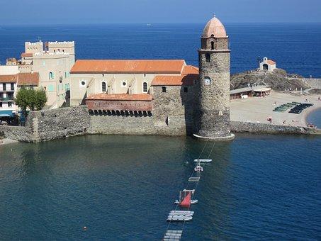 Collioure, Mediterranean, Tower, Church, Harbour