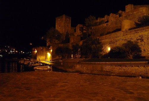 Collioure, France, Night, Sea, Port, South, Tower