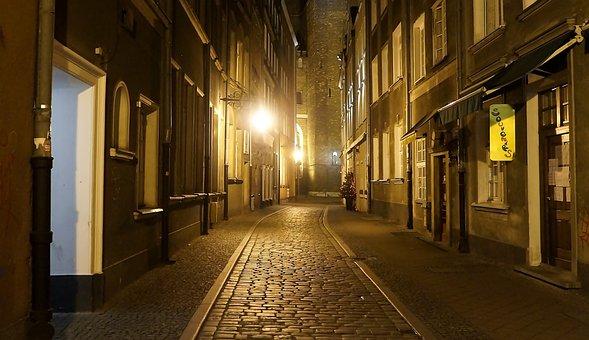 Architecture, View, City, Poland, Gdańsk, Night, Dark