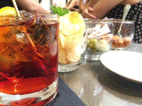 Negroni, Drink, Liquor, Alcohol, Cocktail, Orange, Red