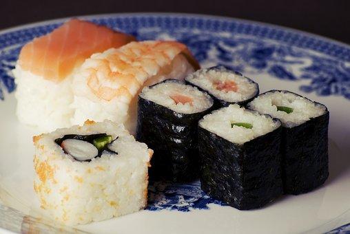 Sushi, Maki, Rolls, Rice, Fish, Salmon, Shrimp, Food