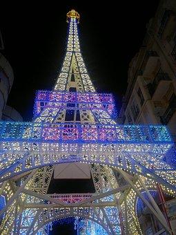 Eiffel Tower, Lights, Parties, Tower, Lit Street