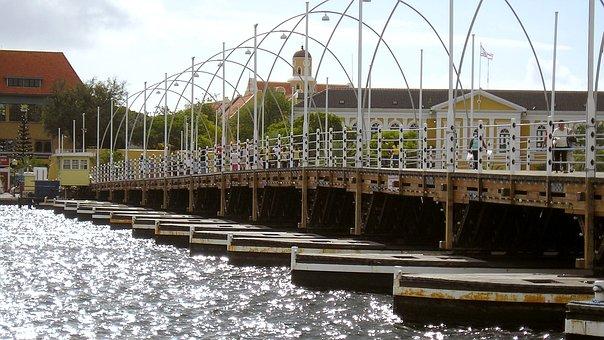 Curacao, Bridge, Sea, City, Architecture, Construction