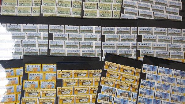Stamps, Philately, Atm, Postmark, Stock Cards