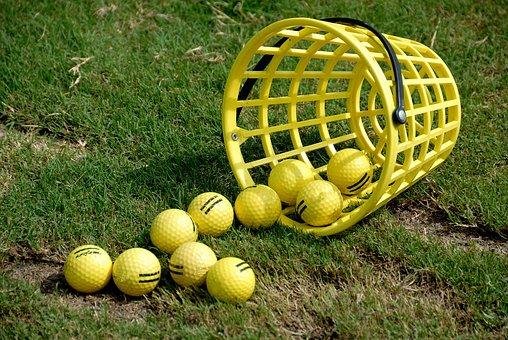 Golf Balls, Basket, Practice, Driving Range, Ball, Golf