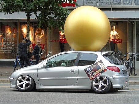 Peugeot, Wheel Out, Car, Stockholm, Sweden, Ball, Roof