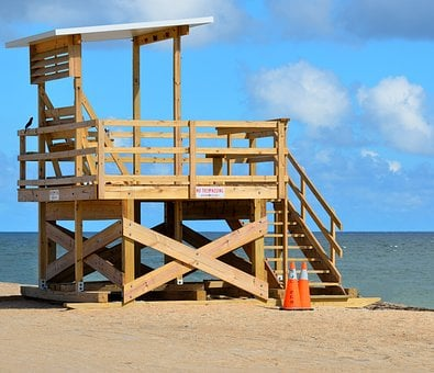 Life Guard, Stand, Beach, Ocean, Sand, Sky, Safety