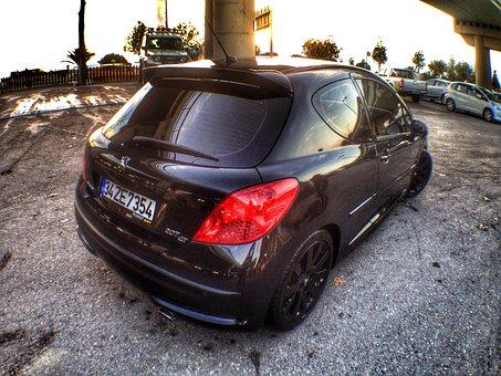 Car, Peugeot, Black, 207, Gt