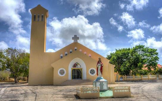 Church, Curacao, Architecture, Antilles, Dutch, Blue