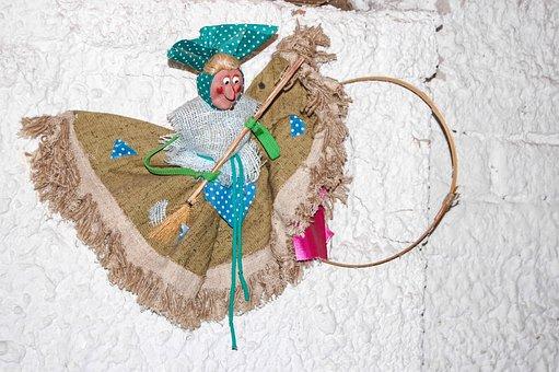 Witch, Grandma, Broom, Souvenir, Statuette, Art