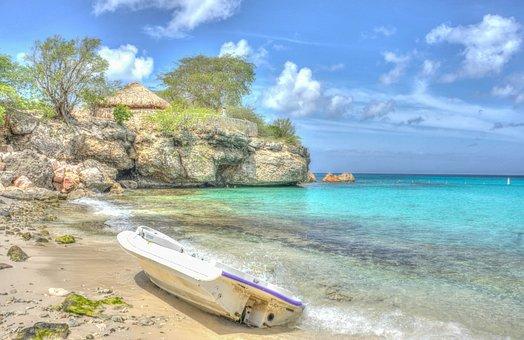 Boat, Beach, Coastline, Curacao, Sea, Ocean, Water