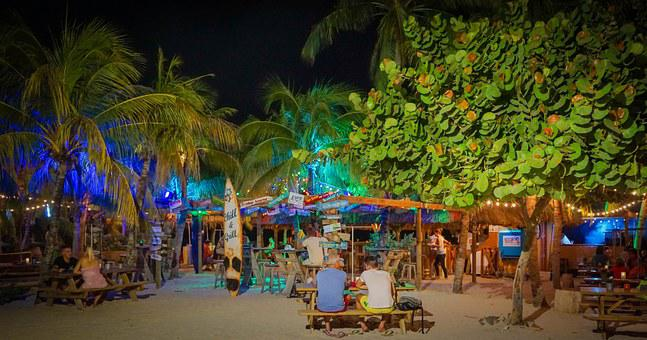 Night, Curacao, Willemstad, Blue, Bar, Cocktail, Drink