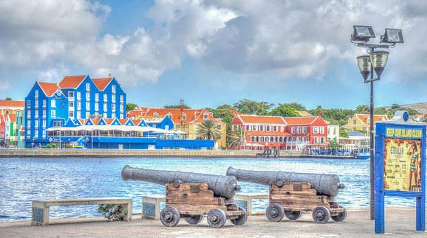 Curacao, Willemstad, Architecture, Buildings, Cannons