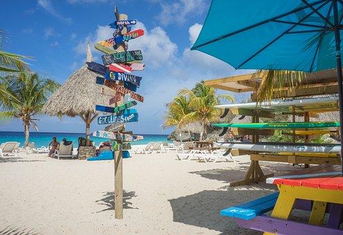 Sign, Decoration, Beach, Coastline, Curacao, Sea, Ocean