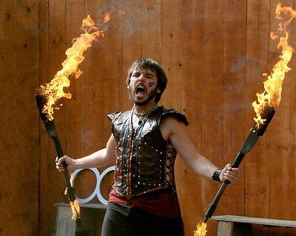 Man, Fire, Juggle, Danger, Performer, Handsome, Flame