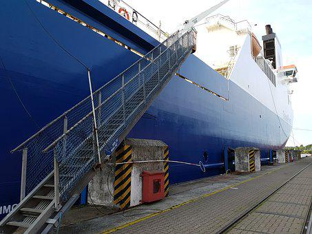 Frachtschiff, Port, Container Ship, Freighter, Gangway