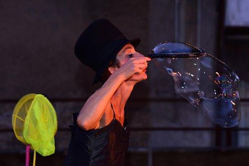 Soap Bubbles, Show, Girl, Juggling, Street Art