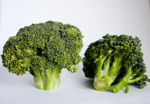 Broccoli, Green, Vegetabes, Florets, Two, Double