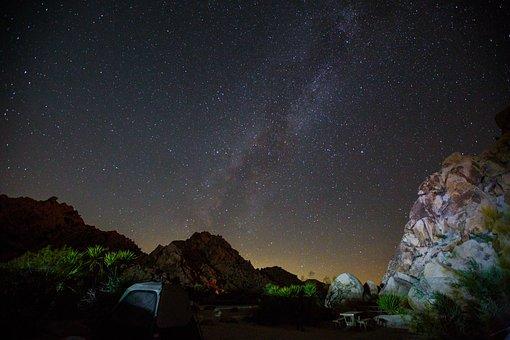 Milky Way, National Park, Joshua Tree, Night, Landscape