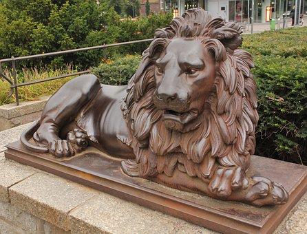 Landmark Part Of Lübeck, Access Character, Bronze Lion