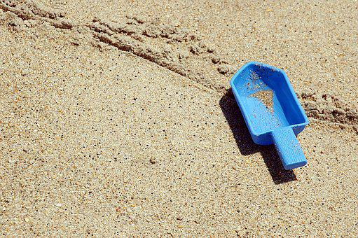 Beach, Toy Shovel, Left Behind, Nobody, Sand, Child