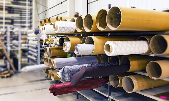 Rolls Of Fabric, Factory, Material, Manufacturing