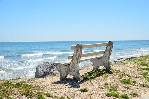 Bench Chair, Overlook, Beach, Ocean, Waves, Water, Sand