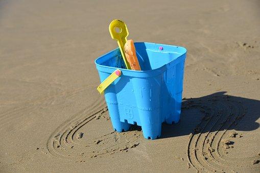 Beach, Bucket, Spade, Sand, Summer, Sea, Vacation
