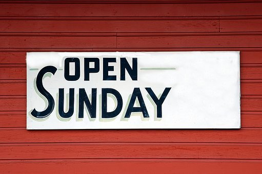 Open Sunday Sign, Signage, Open, Business, Store