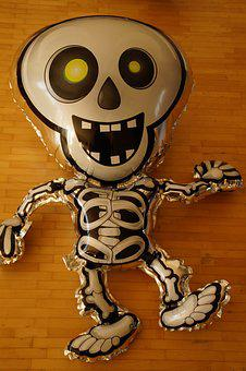 Ghost, Skeleton, Balloon, Spooky, Creepy, Funny