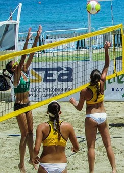 Beach Volley, Action, Motion, Summer, Volleyball, Sport
