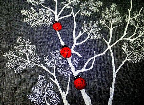 Ladybugs, Decoration, Texture, Textile, Small, Gray