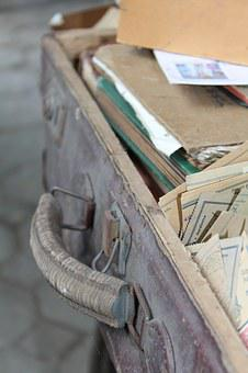 The Suitcase, Old, Letters, Stamps, Album