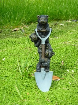 Three Bears, Shovel, Work, Spade, Digging, Garden