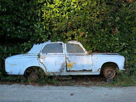 Old Car, Casse Auto, 403 Peugeot, Road, Vehicle