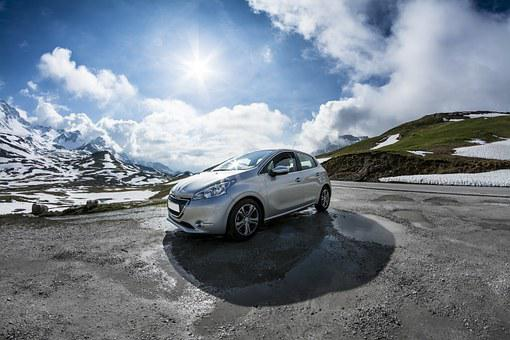 Peugeot, 208, Car, Mountain, View, Blue, White, Spring
