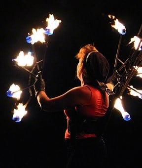 Woman, Artist, Fire Show, Fire, Flame, Artfully, Human