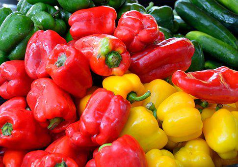 Peppers, For Sale, Red, Yellow, Green, Food, Market