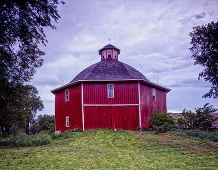 Octagon Barn, Barn, Sky, Iowa, Clouds, Farm, Rural