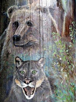 Bridge Pier, Wall Painting, Artwork, Bear, Cougar