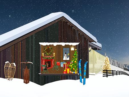 Chalet, Mountain, Christmas, Fir, Lights, Crown