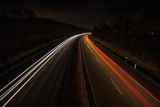 Night, Highway, Light Trail, Restless, Fast, Light