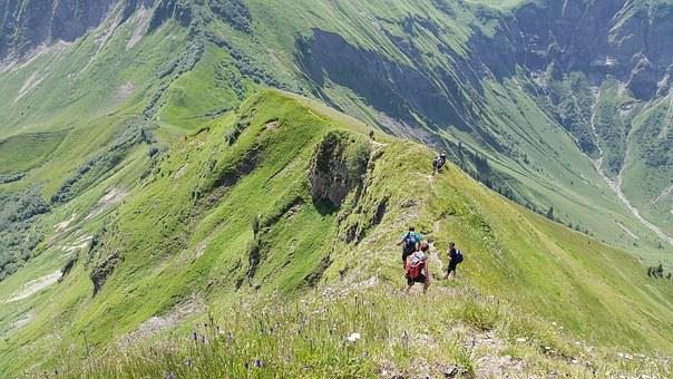 Aelpelesattel, Hiking, Allgäu, Wanderer, Höfats