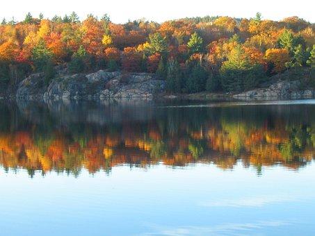 Autumn, Lake, Reflection, Fall, Colors, Canadian Shield