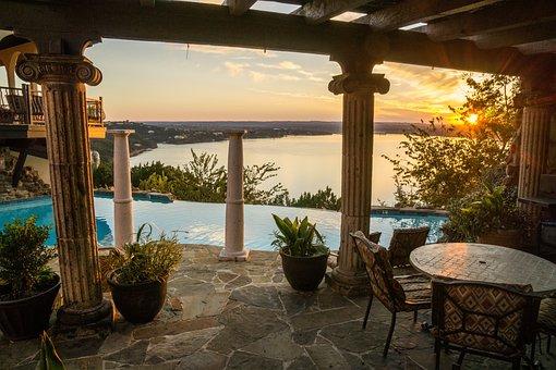 Swimming Pool, Sunset, Resort, Lake Travis, Luxury, Spa