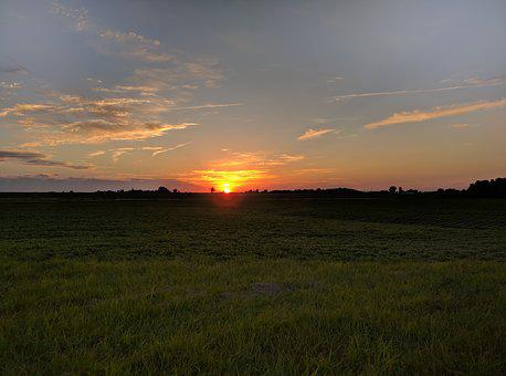 Sunset, Farm, Rural, Field, Midwest, Illinois