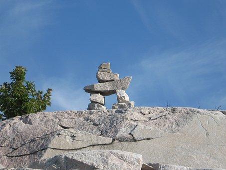 Inukshuk, Rock, Sculpture, Stone, Kilarney, Ontario