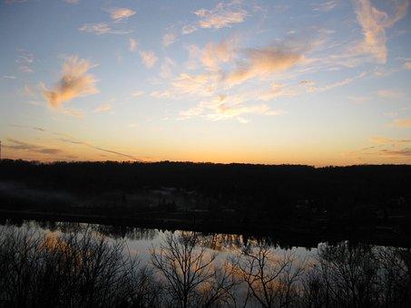 Rock River, Fall, Sunset, River, Landscape, Nature